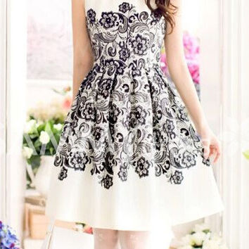 White Floral Printed Skater Dress