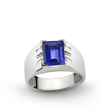 925 K Sterling Silver Men's Ring with 3.25 ct Sapphire and 0.03 ct Diamonds