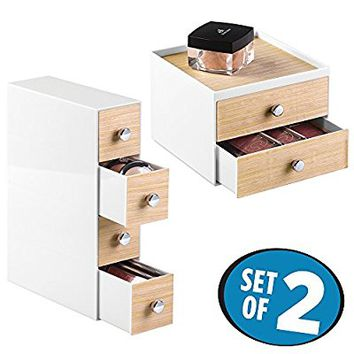 mDesign Cosmetic Drawer Organizers for Vanity Cabinet to Hold Makeup, Beauty Products - Set of 2, White/Light Wood Finish
