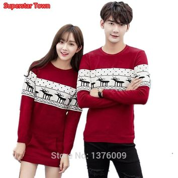 Women Shirt Snowflake Elk Print Christmas Long Style Autumn Winter Long Sleeve T shirt Lover Couple Matching Knitted Tops Thin