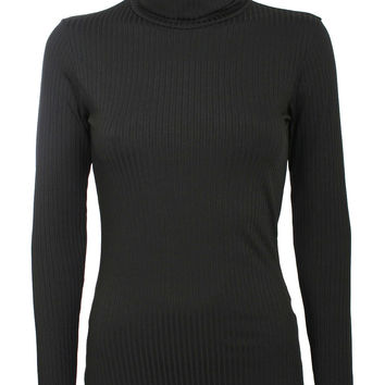 Madeline Long Sleeve Ribbed Roll Neck Top in Black