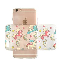 Cute Unicorn Pattern Transparent Clear Rubber Jelly Plastic Phone Case for Iphone_ SUPERTRAMPshop (VAS1467, iphone 6)