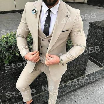 Elegant Designs 2018 Casual Business Beige Mens Suits 3 Pieces Formal Dress Men Suit Set Men Wedding Suit For Men Groom Tuxedos