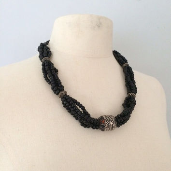 Vintage Black and sliver statement necklace / Bead necklace 1970s