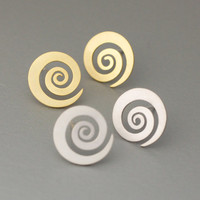 Whirlwind Tornado Whirlpool Swirl Wind Silver studs earrings  - Available color as listed ( Silver, Gold )