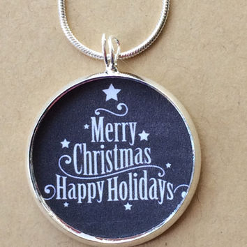 Merry Christmas Happy Holiday Necklace, Christmas Pendant, Holiday Charm, christmas jewelry,holiday necklace,gifts for her,Pendant Necklace