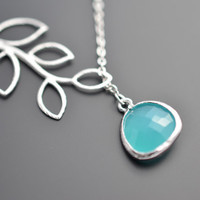 JULY 4TH SALE - Aqua Blue Glass  teardrop and branch neckalce