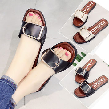 Stylish Summer Flat Metal Beach Shoes Slippers [10788525455]