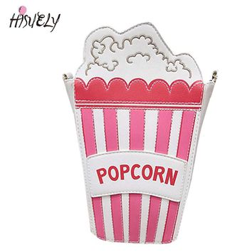 2017 New fashion personality ice cream popcorn embroidered shape chain shoulder bag messenger bag lady handbag clutch purse