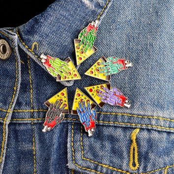 Trendy 6pcs/set Slicing up Zombie Hand Pizza Brooch Enamel BFF Pins Buckle Denim jacket Shirt Collar Badge Jewelry Gift for Best friend AT_94_13