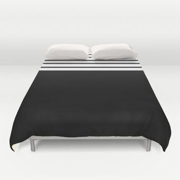 Black and white stripes Duvet Cover by Xiari
