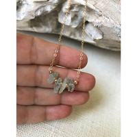 Aquamarine Necklace, Aquamarine Necklace in Gold or Silver, Gold or Silver Raw / Rough Aquamarine Necklace, Rough / Raw Aquamarine