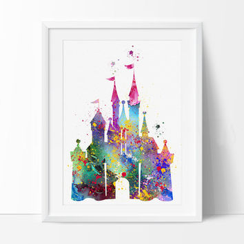 Disney Castle Watercolor Print, Disney Art Print, Disney Castle Print , Watercolor Art Painting Disney Castle Art - 96