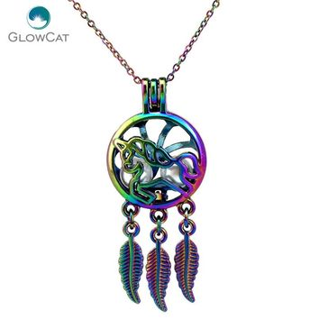 C751 Rainbow Color Dream Catcher Lovely Unicorn Leaf bead cage Necklace Pendant Aroma Essential Oil Diffuser Locket Necklace