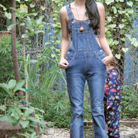 Womens 90s Fitted Denim Bib Overall Pants/ OVERALLS / Jean Overalls / Jean Jumpsuit / Grunge Overalls SMALL