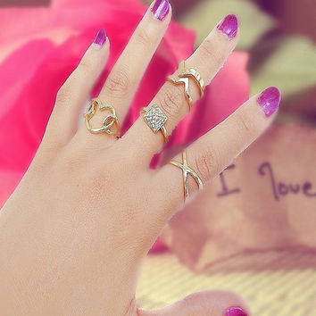 Fashion Nice 1 Set Personality Leaf Knuckle Midi Mid Finger Tip Stacking Chain Rings = 5988145281