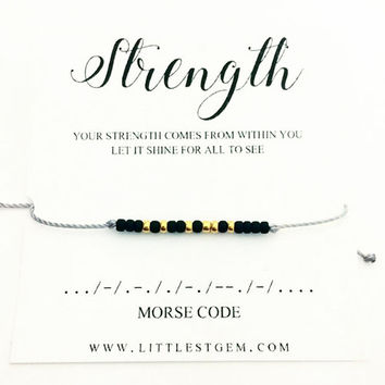 Strength Morse Code Bracelet - Friendship Bracelet - Best Friend Gift - Minimalist Jewelry - Best Friend Bracelet - beaded Bracelet