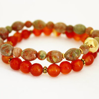Jasper and Carnelian Gemstone Bracelet Set, Fashion Colors, Treat Yourself, Feel Special, Holiday Gift Set, Stretch bracelets, Unique Gift