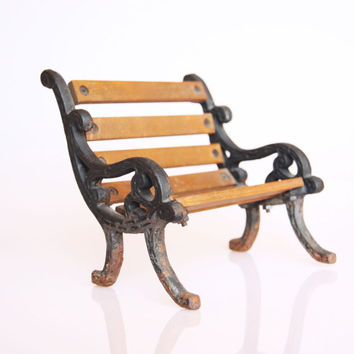 Antique wrought iron and wood miniature bench, doll size art nouveau looking bench