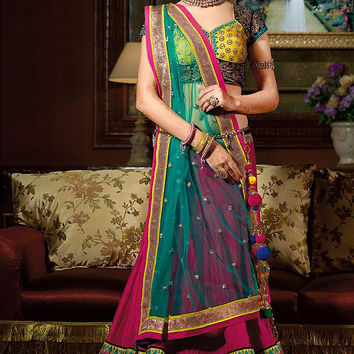 Yellow Green and Pink Heavy Embroidered Three Piece Lehenga Set