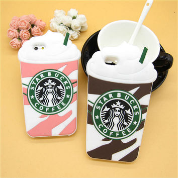 3D Cartoon Starbuck Coffee Rubber Soft Cute Phone Cases for Apple iPhone 6 6s 4.7'' Funny Silicone Back Cover