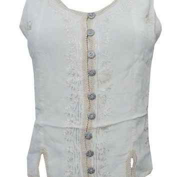 "Women's Bohemian Blouse Stonewashed Rayon Peasant Tank Tops (Chest:40"")"