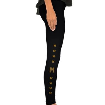 Gold Butterfly Monogram Pattern Leggings