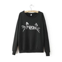 Women Pullover Hoodies Oversized Plus Size Cat Printed Sweatershirt