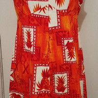 Hukilau Fashions Vintage 1960's Orange Pineapple Dress Size 14 Hawaiian Bright