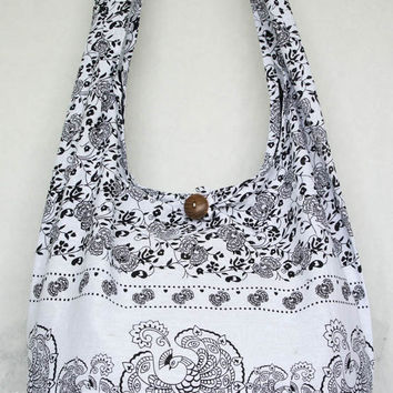 YAAMSTORE white peacock hobo bag sling shoulder crossbody hippie boho purse