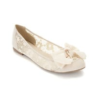 Lady Cream Lace Slipper - Flat Shoes  - Shoes
