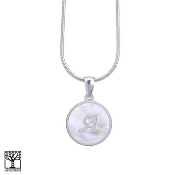 """Jewelry Kay style Women's Stainless Steel in Silver A Initial Letter Medallion 16"""" Chain Necklace"""