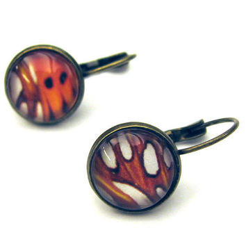Monarch Butterfly Wing Macro Photography Earrings by SovereignSea