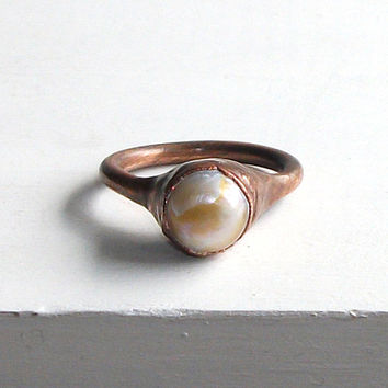 Pearl Ring Gemstone Ring June Birthstone Ring Cocktail Ring Copper Gold Steel Iridescent Golden Ring Gem Artisan Handmade