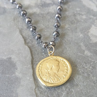 Coin Necklace, Mixed Metal Coin Necklace, Mixed Metal Silver and Gold Necklace, Gold Coin Necklace,  Gold Coin Silver Necklace