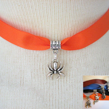 Halloween Choker, Spider Necklace, Adjustable Ribbon Choker with Charm, Spider, Fox, Owl or Cat Choker Necklace, Halloween Jewelry