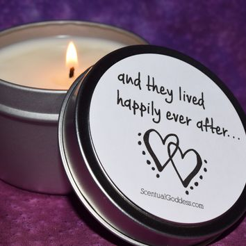 And They Lived Happily Ever After... Candle - Two Hearts Joined Together As One - Wedding Gift, Engagement Gift