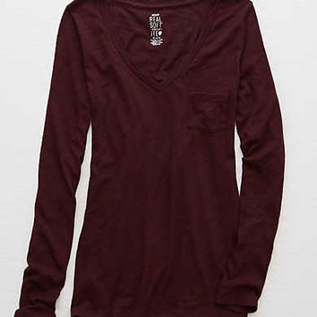 Aerie Real Soft® Stretch Tee, Deep Plum