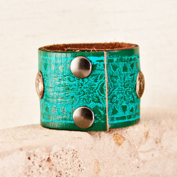 Turquoise Cuff Bracelet Leather Wristband Unique Jewelry New Years Sale Vintage Handmade Gift For Women Bohemian Gypsy Hippie Accessories