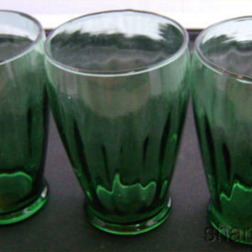 Set 3 Green Clear Vintage Drinking Water Beverage Glasses Barware Retro Lot