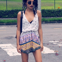 Floral Dress Spring - White Purple Spaghetti Strap Backless Floral Dress