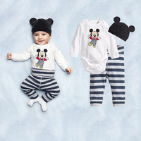 Mickey or Minnie 3 Piece Outfit. Onesuit, Pants and Mouse Beanie Hat
