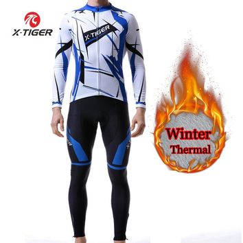 X-TIGER Winter Long Sleeves Cycling Jersey Set Thermal Fleece Cycling Clothing MTB Bike Clothes Reflective Jacket Sportswear Men