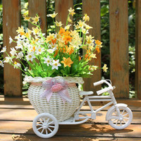 White Tricycle Bike Design Flower Basket Storage Container Wedding Decoration Casamento Mariage For Flower Plant Home Party DIY