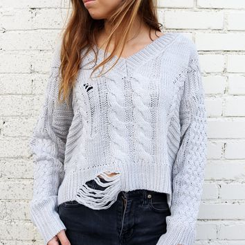 Cable Knit Hi-Lo Sweater - Cloudy Gray by Dex
