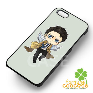 Supernatural cute doodle cas castiel angel in trenchcoat -EDS for iPhone 6S case, iPhone 5s case, iPhone 6 case, iPhone 4S, Samsung S6 Edge