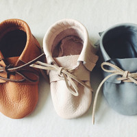 Lace up  Moccasins, Leather Sole, Soft Sole