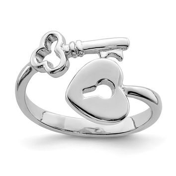 Rhodium Plated Sterling Silver Heart Lock and Key Bypass Toe Ring