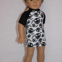 18 inch doll clothes, baseball style mini dress, fitted mini dress, skeleton print mini dress ,  american girl, Maplelea