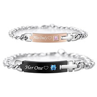 His Only Her One Stainless Steel Matching Bracelets for Couple